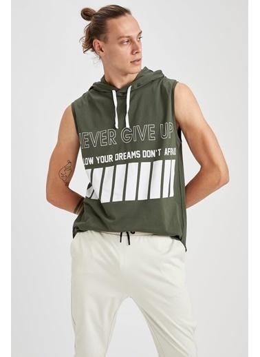 Defacto –Fit Baskılı Kapüşonlu Slim Fit Kolsuz Pamuklu Sweatshirt Haki
